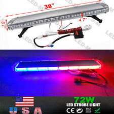 "38"" 72 LED Car Emergency Warning Solid Roof Plow Tow Strobe Light Bar Red Blue"
