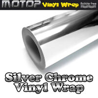 30*152cm Silver Chrome Mirror Vinyl Wrap Film Car Sticker Decal Sheet Protect
