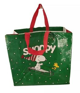 Christmas SNOOPY & Woodstock tote bag green & red new large shopping bag tote