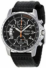 Seiko SNN079P2 Quartz Chronograph Stainless Steel Cloth Strap 100m Men's Watch