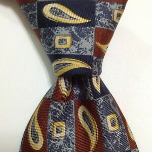 HUGO BOSS Men's 100% Silk Necktie ITALY Designer Geometric Blue/Brown/Yellow GUC