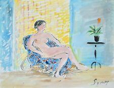 Robert SAVARY - Peinture originale - Gouache - Nu dans le fauteuil