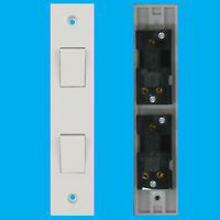 2 Way 2 Gang White Plastic Architrave Horizontal Wall Light Switch 10A