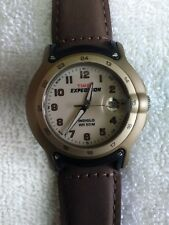 Vintage Men's Timex Watch Expedition Indiglo WR50M Magnifying Date Leather Band
