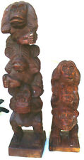 Two Wooden Carvings of the three Monkeys Hear, see, speak no Evil