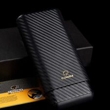 COHIBA Carbon Fiber 3 Tube Wooden Cigar Tobacco Holder Travel Case Free Gift Box