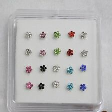 20PCS Silver Rhinestone Nose Studs Rings 8 Colors Beautiful Flower Shap Stylish