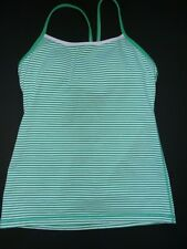 Lululemon Athletica SZ 8 Power Y Tank Top Green White Stripe Women Yoga Workout