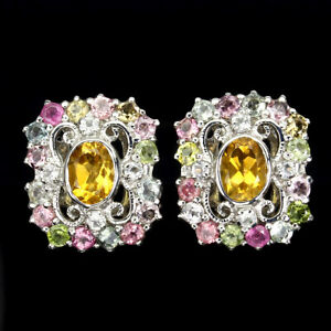Unheated Oval Citrine 7x5mm Tourmaline White Topaz 925 Sterling Silver Earrings