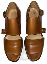 Hermes Vintage Womens Brown Sandals Shoes W/ Buckles *Size 38.5* Made In Italy