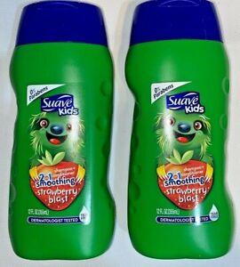 2 Suave Kids Smoothing STRAWBERRY BLAST 2in1 Shampoo+Conditioner 12 FL OZ