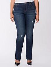 Lane Bryant Plus SIZE 28 30 Blue Denim GENIUS FIT Straight Leg Jeans Pants NEW