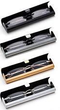 Classic Rimless Compact Reading Glasses Readers Travel Slim Design with Case