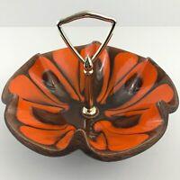 VTG MCM Sequoia Ware Drip Glazed Orange Brown Bowl California Pottery USA 610