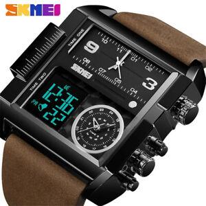 SKMEI Men Quartz Watches Military Big Dial Male Leather Strap Digital Wristwatch