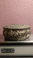 Antique Trinket Box Silver Metal Jewelry Casket Hinged Cross Emblem Japan