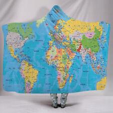 Continental Symbol Animals World Map Sherpa Fleece Hooded Blanket Car Sofa Throw