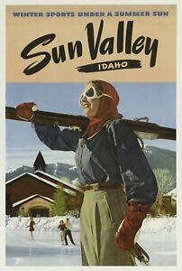Sun Valley Idaho - Winter Ski US 1940's Vintage Travel Ski Poster