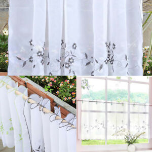 Eyelet Half Curtain Embroidered Window Tier Sheer Voile for Cafe Kitchen
