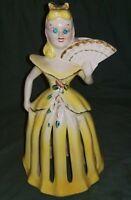 VINTAGE YELLOW DRESS LADY NAPKIN CANDLE HOLDER RHINESTONE EYES  KREISS & COMPANY