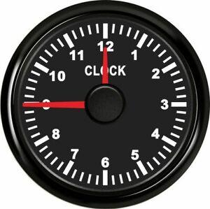 52mm Clock Gauge LED Backlight Waterproof Marine/Automotive Black Surface AU