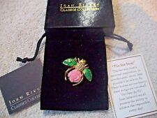 JOAN RIVERS Goldtone BEE Pin Pink Resin Gardenia Crystal Green Enamel Free Ship