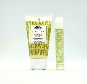 Set/2 Origins Ginger Burst Savory Body Wash And Ginger Essence ~