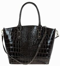 Real leather woman handbag tote shoulderbag hobo.Made in Italy.Croco BROWN+TAUPE