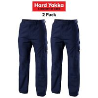 Mens Hard Yakka Legends Light Weight Cotton Pants 2 Pk Tough Cordura Work Y02906