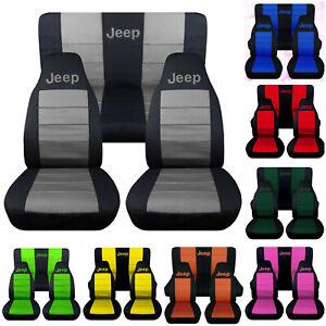 Jeep Wrangler TJ-JK-YJ 1987-2019 Two Tone Full Set Car Seat Covers w Jeep Logo