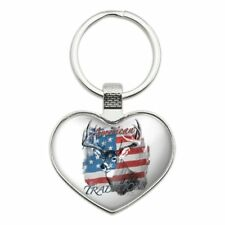 Deer USA Flag American Traditions Hunting Heart Love Metal Keychain