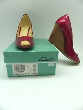 Clark's red patent peep toe wedge heels/ shoes UK 6D