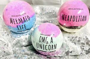 Onyx Bathhouse Bath Bombs 1 Mermaid Life , 1 Unicorn ,1 Neapolitan Ice Cream