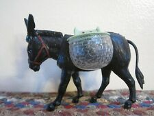 Vintage Black Celluloid? Bobblehead Nodder DONKEY with Baskets Made in FRANCE