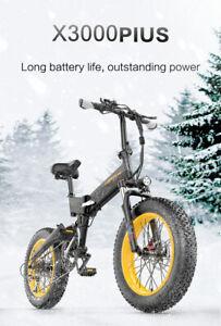 X3000plus 20 Inch Folding Electric Snow Bike, Fat Tire Bicycle 1000W Dual Suspen