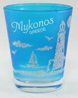 MYKONOS GREECE NEON NAUTICAL FROSTED SHOT GLASS SHOTGLASS