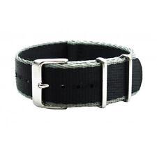 Black Stripe Seat Belt Nylon High Quality Military Style Watch Band Strap