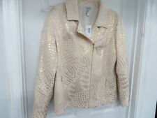 NWT CHICO'S Luminesce Brienne  Ecru/gold  Full zip Jacket Size 3 - XL