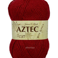 James C Brett Aztec Aran With Alpaca Knitting Wool 100g Ball - Complete Range Al7 Red