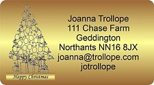 130 Christmas labels stickers return Address with graphic Personalised Gold