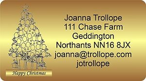 260 Christmas labels stickers return Address with graphic Personalised Gold