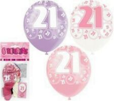 Unique Party 80873 - 12 Latex Glitz Pink 21st Birthday Balloons Pack of 6