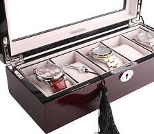 AXIS ® Rojo Cereza Caja Reloj de almacenamiento de información Brillo De Madera Para 5 relojes