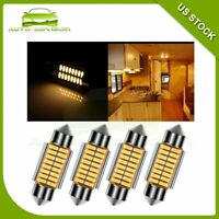 4x 36mm 18SMD-4014 Bulbs Super Warm White Car Interior LED Lights Bright Lamp