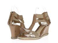 Womens FENDI Beige Patent Leather Zip T Strap Sandals Wedges Heels Size 41.5