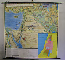 School Wall Map Wall Map Map Card Old Testament Bible Palestine ~ 1960 167x167