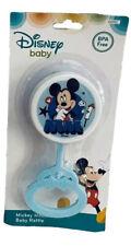 ⚡️NIB Disney Mickey Mouse Light Blue Baby Rattle BPA Free Whistle MM