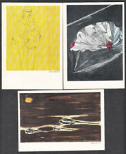 Three Unused Polish Postcards Depicting Parachutists And Helicopters + Folder
