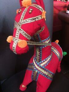 Horse Pony Fabric Unusual Large Hand Crafted Decorative Figure Animal 50cm