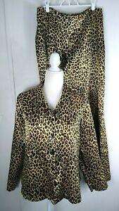 Fredericks Of Hollywood Pajamas Satin Leopard Print Loungewear Womens Large